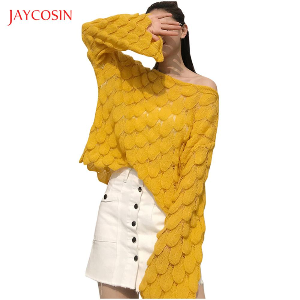 Joycosin 2019 Fashion Women Spring Knitted Sweater Bell Sleeve Loose Outside Jumper Sweater wave Solid color pullover tops