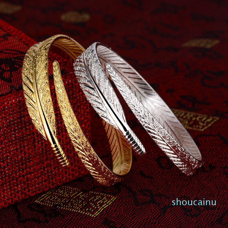 Plume à la mode argent Bangle amour rétro-coréen d'ouverture Accessoires Bijoux Bracelet réglable pour Robe cadeau Creative Femmes