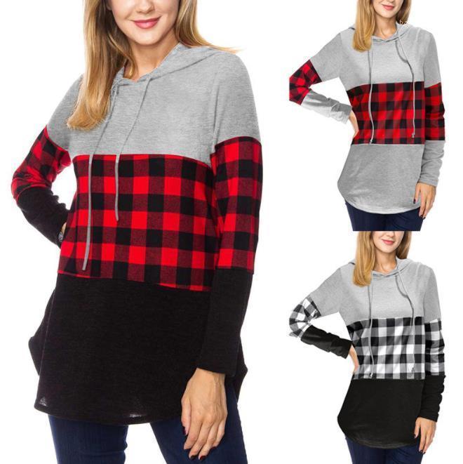 Hoodies Mode Getäfelten Plaid Muster mit Kapuze Pullover Sweatshirt Frauen Frühling Herbst Frauen Kleidung 19AW Frauen Designer