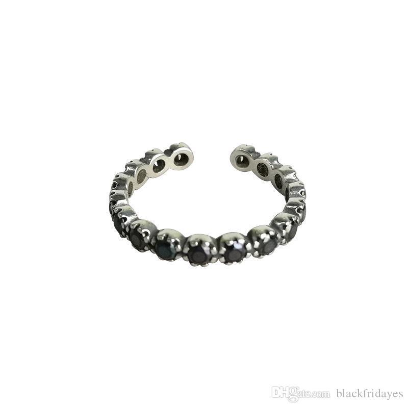 S925 sterling sterling ring femmina semplice personalità retrò vecchio nero diamante anello anello di apertura anello argento gioielli di lusso anelli di gioielli di lusso