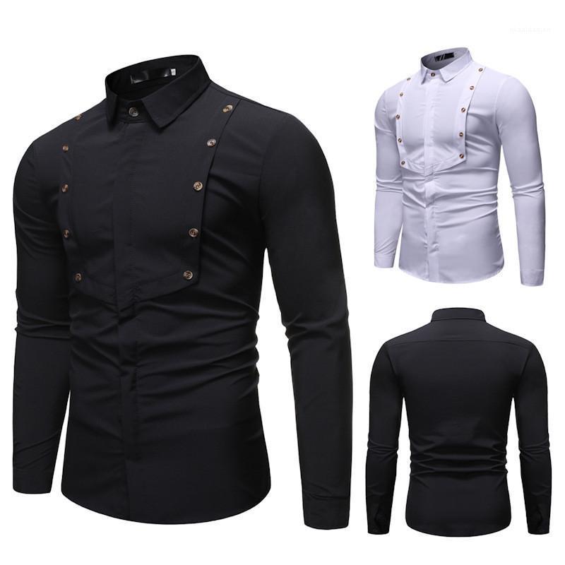 Cor Único Breasted Homme Tops Primavera Designer Mens Splice shirt dos homens manga comprida lapela Vestuário Sólidos