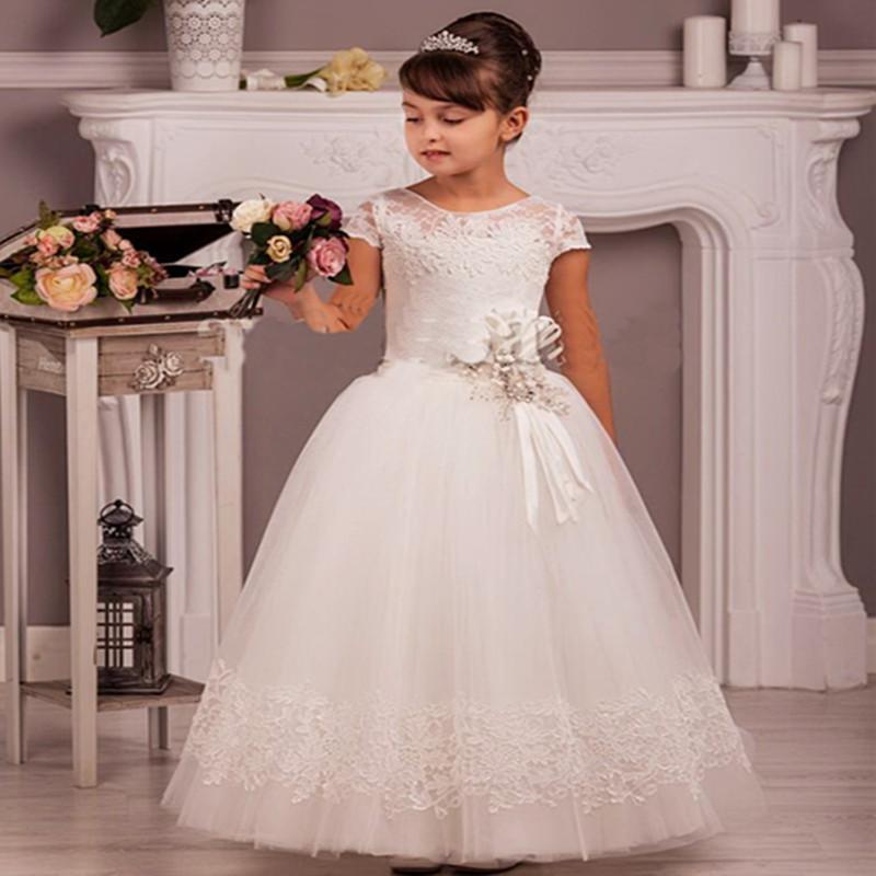 2020 filles Halter satin fille fleur pour les mariages A-ligne Sainte robes première communion Princesse Pageant Robes