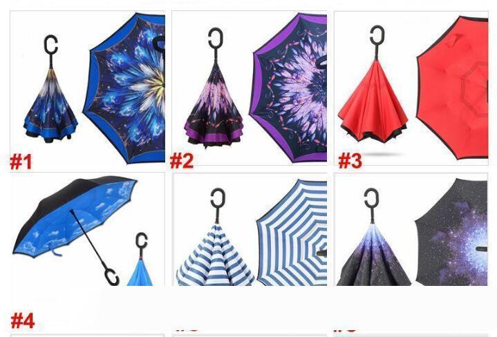 Regalos C manija plegable paraguas invertido 37 Estilos inversa paraguas a prueba de viento de doble capa invertida lluvia del coche Paraguas para las mujeres de los hombres 898