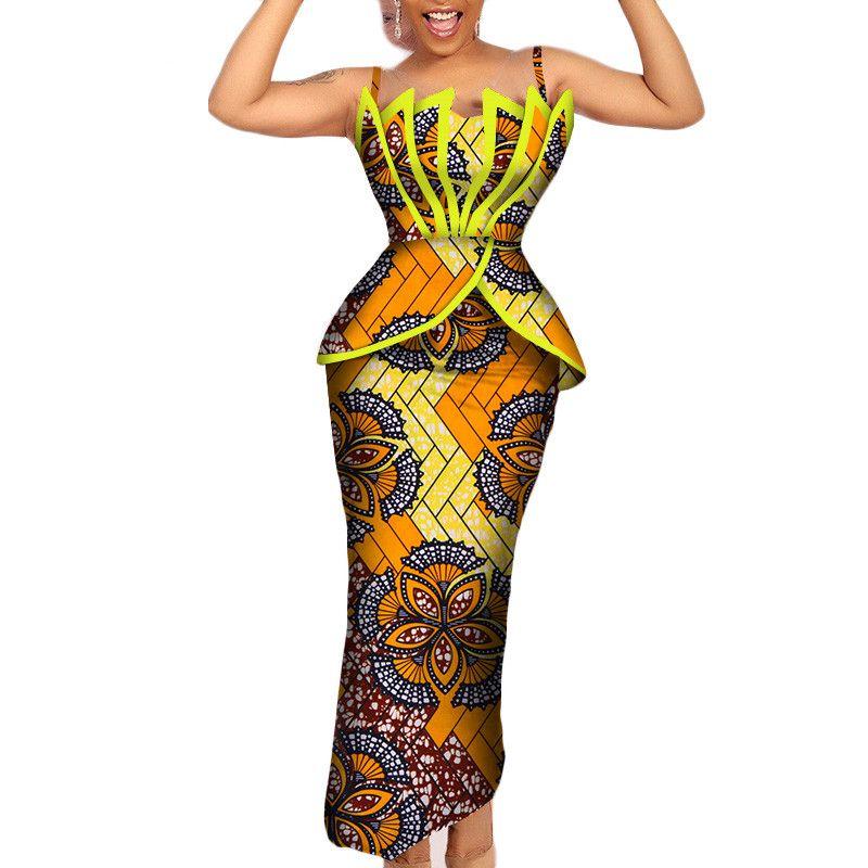 Модные африканские принты с оборками и юбками Наборы для женщин Базен Рич Африканская женская одежда 2 шт. Юбки-карандаши Наборы WY206