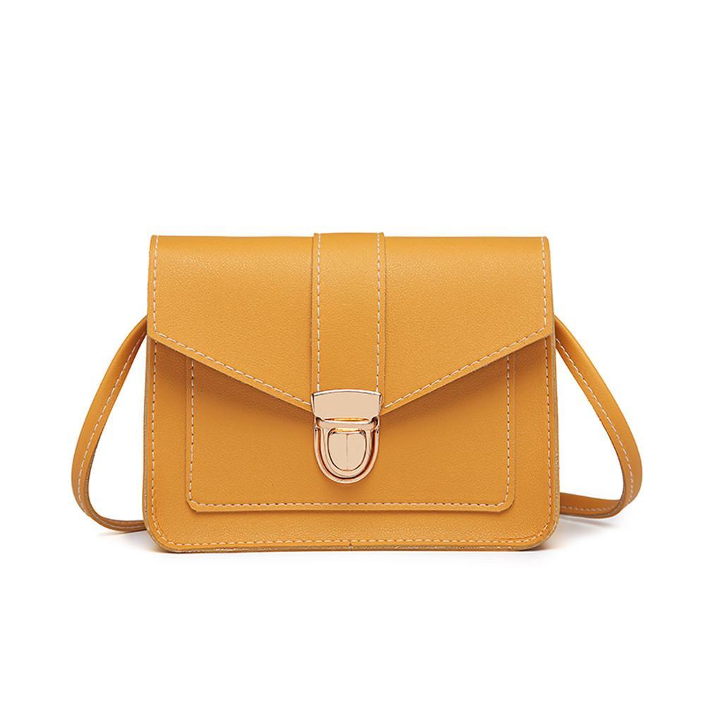 Flap quadrado pequeno Ferrolho Bandoleira Sacos Mulheres Moda Pure Color pu Leather Messenger Shoulder Bag-de-rosa amarelo Peito Cor Cinza Bag