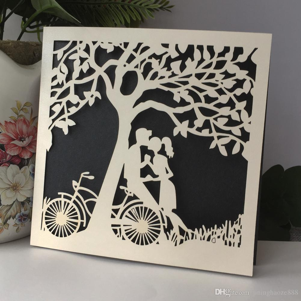 45PCS /lot Hollow Laser Cut Lovers Kiss Wedding Invitations Card Happiness Universal Greeting Cards Theme Young People Party Invitations
