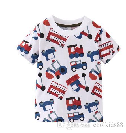 Детские мальчики одежда хлопок футболки с автомобилями трактор печати с коротким рукавом дети тройники топы летние мальчики девочка рубашка