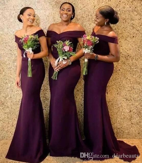 2020 Регентство С Плеча Атласные Длинные Платья Невесты Ruched Развертки Поезд Свадебные Платья Для Подружек Невесты