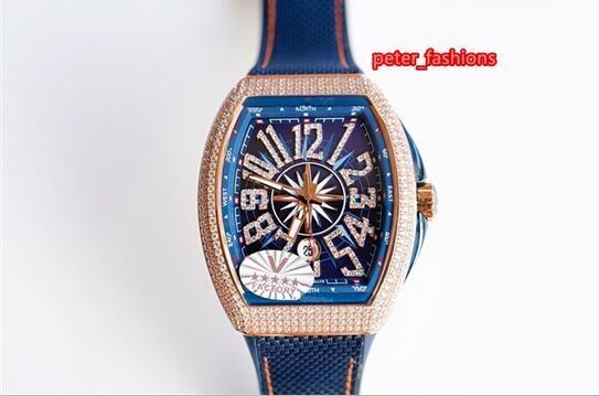 Rose Gold Shiny Diamond Men's Watch High Quality Boutique Fashion Watch Blue Strap Waterproof Sports Casual Watch