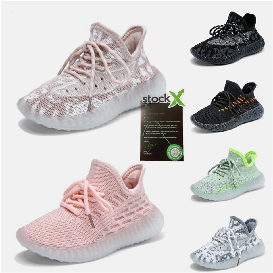Top Quality 2020 Kanye West Kids Running Shoes Desert Sage Earth Flax Linen Marsh Tail Light True Form Zyon White Designer Shoes #686