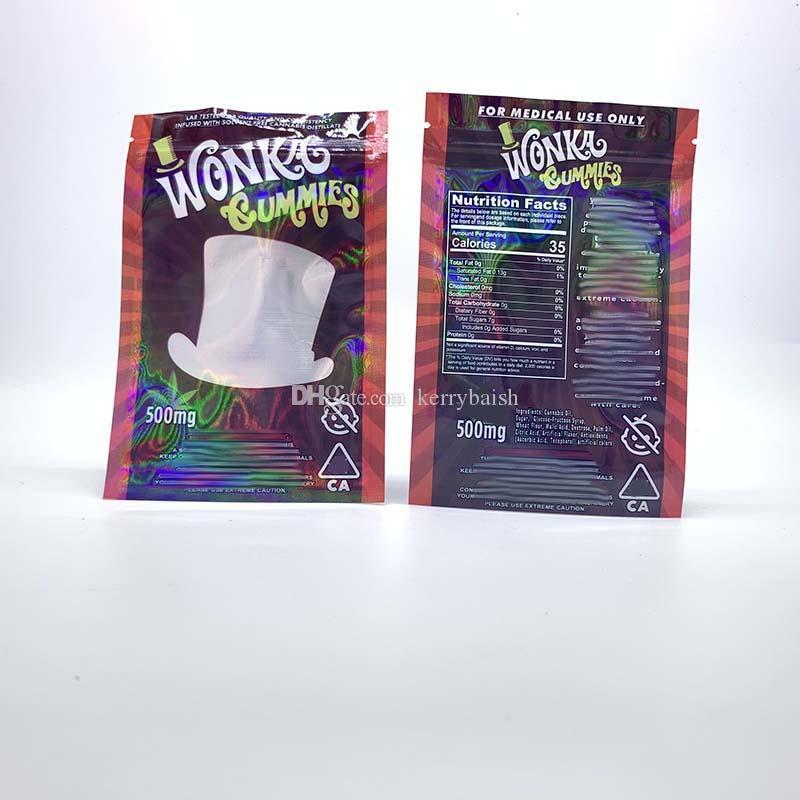 Вонка Gummies Майларовые Сумка 500мг Edibles Конфеты Печенье Zip блокировки пахнут Proof хранения Розничная Упаковка Полиэтиленовые пакеты