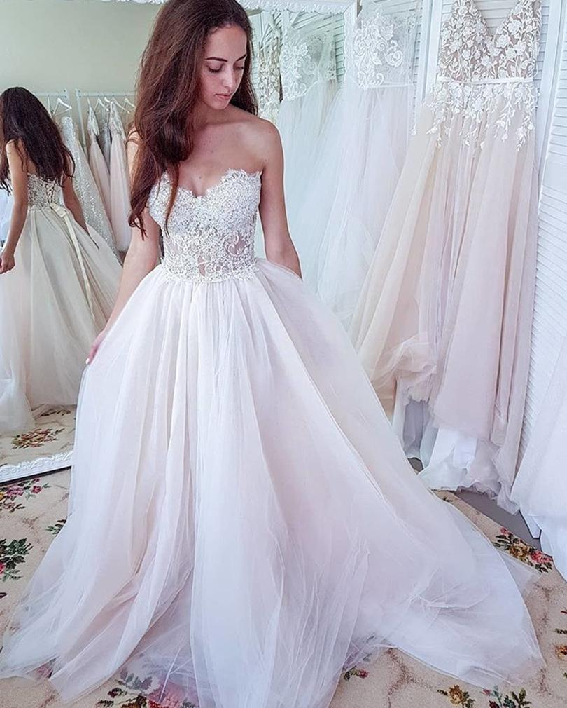 Discount Summer Beach Wedding Dresses A Line Sweetheart Lace