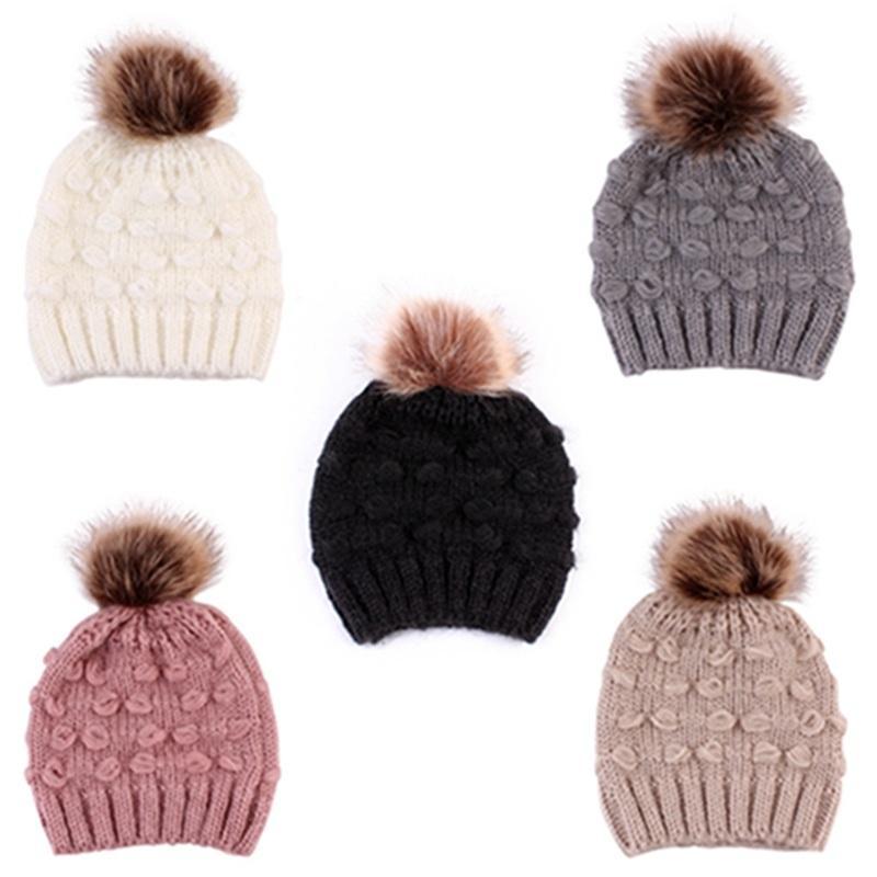 Cute Toddler Kids Hats Girls Boy Baby Winter Warm Crochet Knit Hat Brand Beanie Fur Cap Children Caps children caps winter