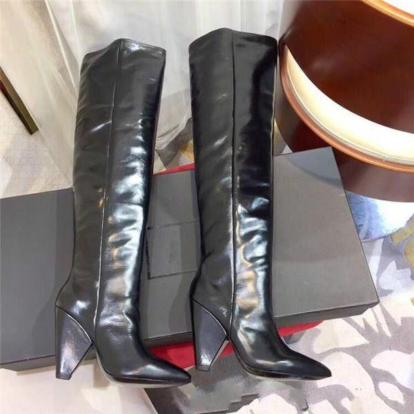 Cuir pleine cuir bottes femmes minces haute hiver nouvelle cire d'huile bottes genou ridée haut bottes à bout pointu talon