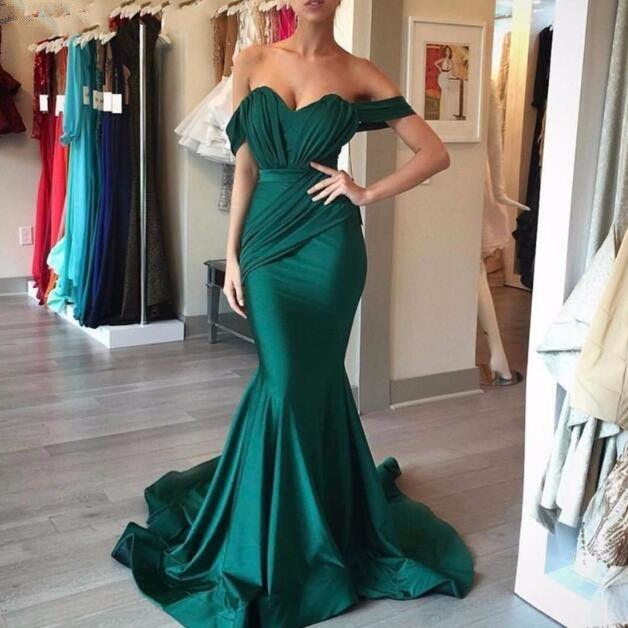 Vestidos de noche verde esmeralda Largo Sweetheart Plieg Satin Sirena Sirena Vestidos de noche formales 2020 Abiye Gece Elbisesi