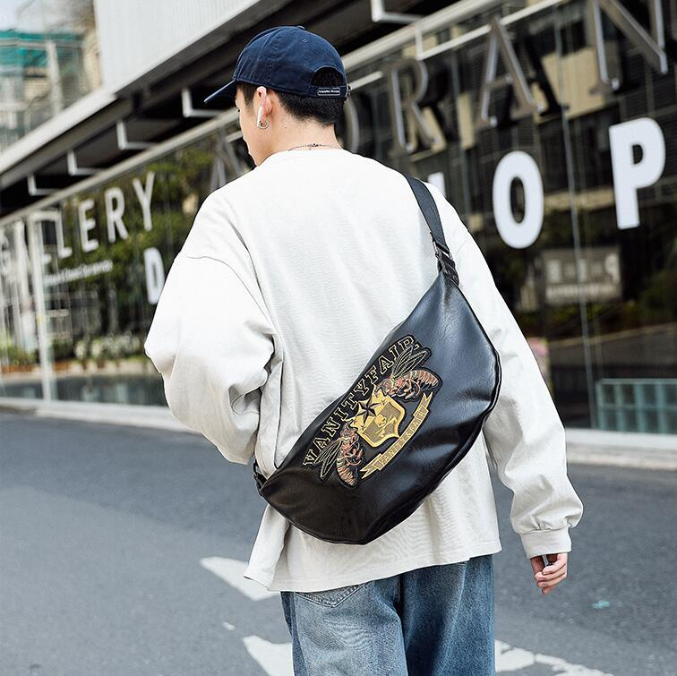 wholesale men handbag new soft leather casual messenger bag street fashion embroidered pockets personalized embroidered leather shoulder bag