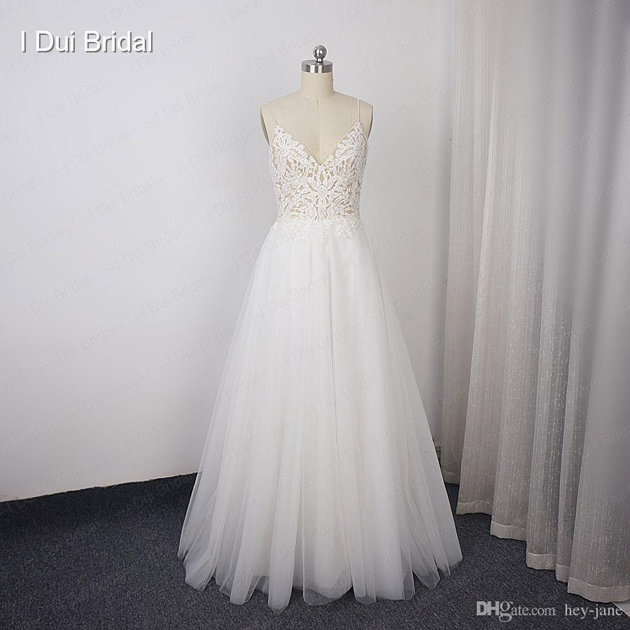 Пляж свадебное платье длиной до пола кружева аппликация из бисера тюль высокое качество свадебное платье завод реальные фото