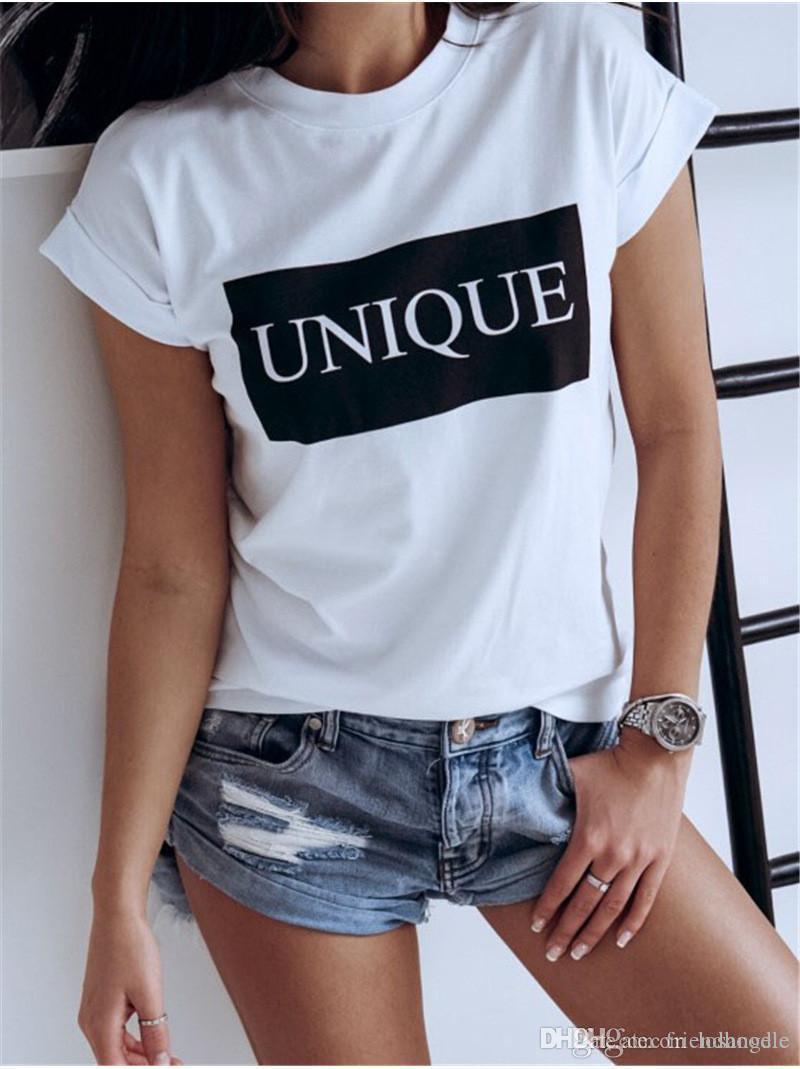 Único impresso Womens Designer T-shirts Summer manga curta O Neck Ladies Tops Female Tees