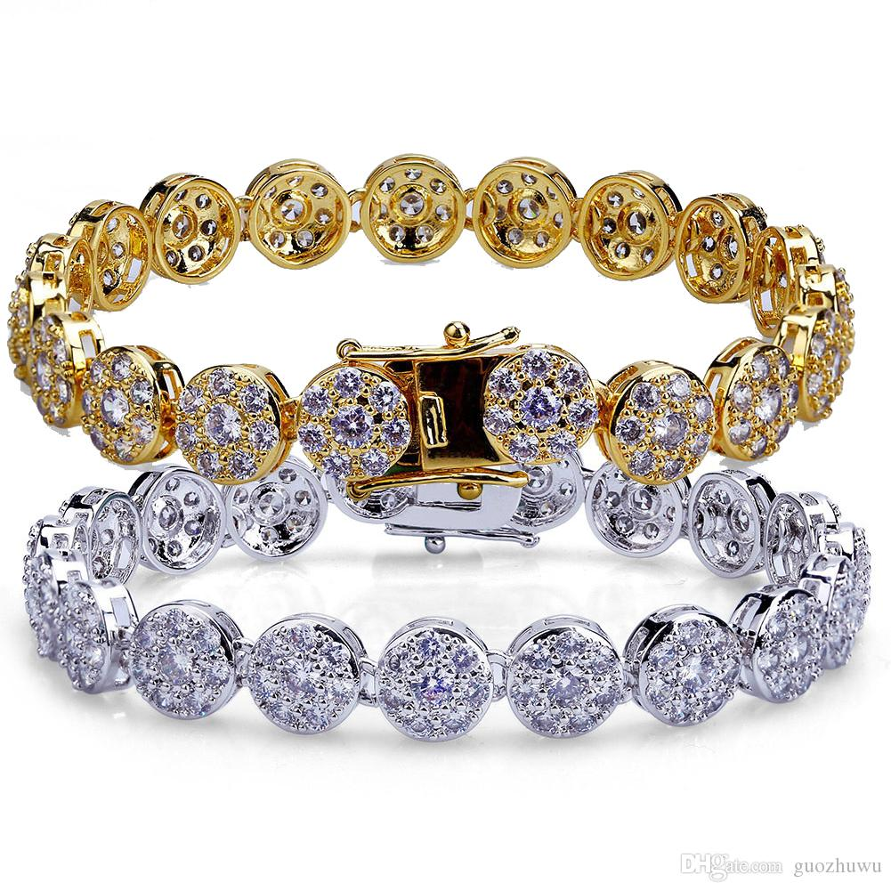 Hip Hop Rapper Full Diamond Iced Out Tennis Bracelets 18K Gold and White Gold CZ Zirconia Wrist Chains Jewelry Mothers Gifts for Men & Women