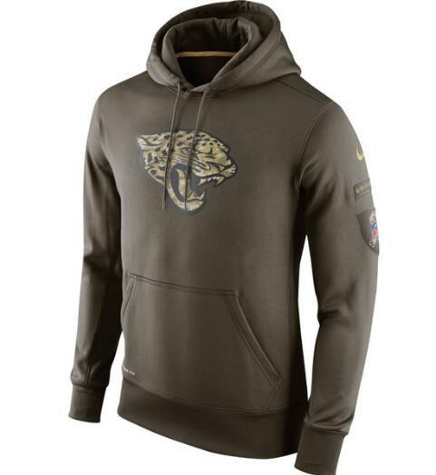 Men Women Youth Jacksonville New Style Jaguars Authentic Sweatshirt Vintage Olive Salute To Service KO Performance Hoodie