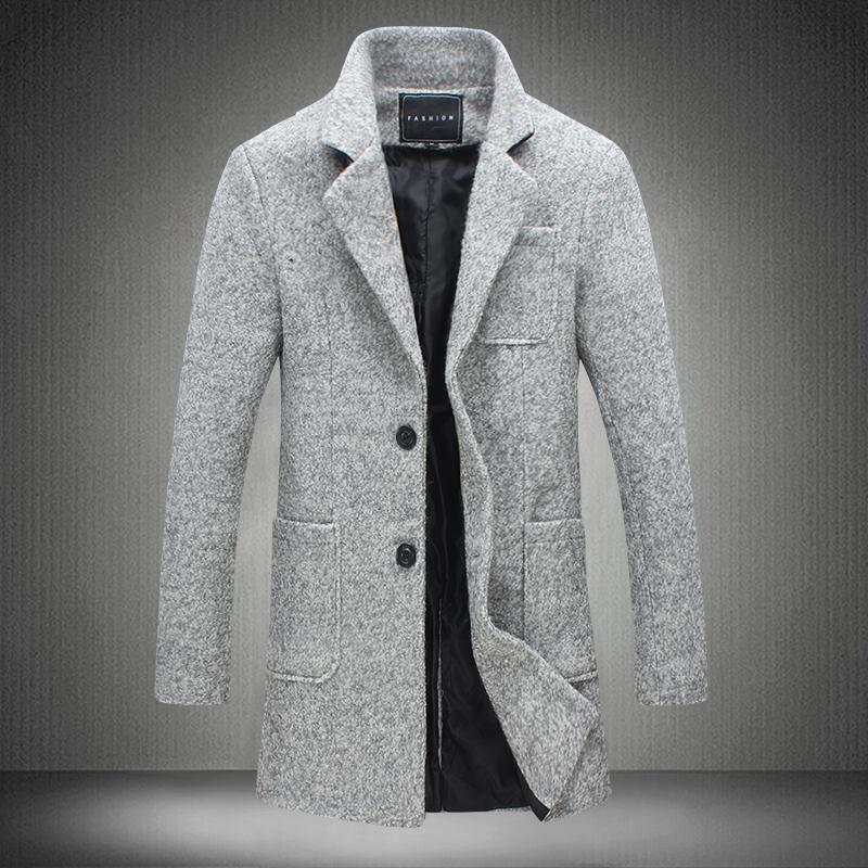 2017 La nueva capa de foso larga de los hombres cortavientos invierno para hombre de la moda abrigo de lana de calidad gruesa capa de foso caliente masculino chaquetas gris 5XL