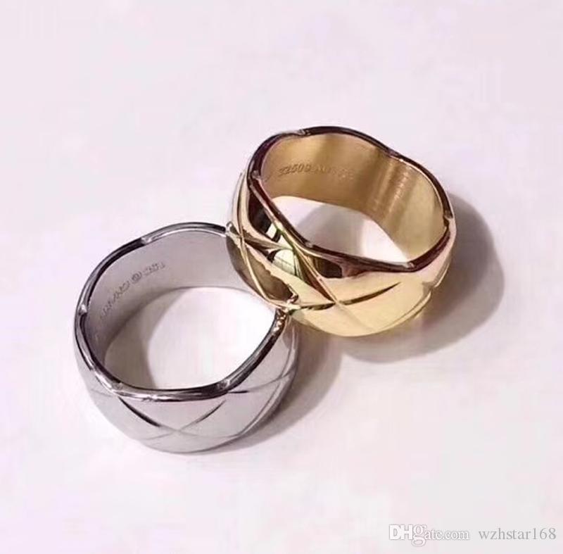 Fashion Designer COCO CRUSH premium anéis de titânio jóias inoxidável 316 Geometric Rhombus mulheres e homens anel jóias com logotipo