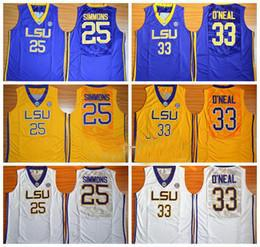NCAA University 농구 Lsu 호랑이 저 유니폼 슈 쿼 릴 33 Oneal o Neal 벤 25 Simmons Jersey 남자 대학 노란 팀 보라색 멀리 흰색