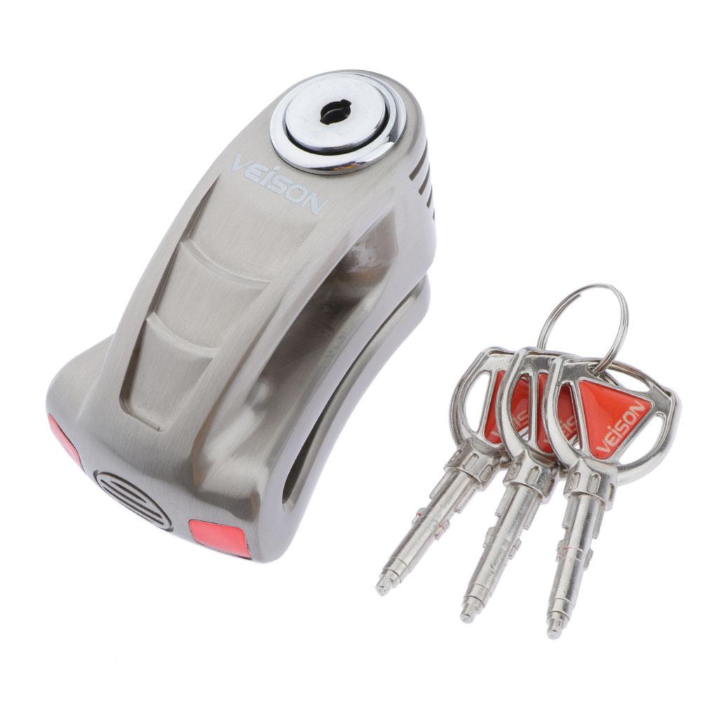 Disque de frein de verrouillage (broche 6 mm de diamètre), Moto serrure avec 3 clés, Antivol blocage des roues (50x80mm)