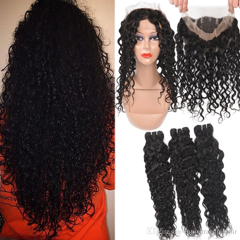 9A Brazilian Virgin Hair Water Wave With 360 Full Lace Closure Deep Water Wave Loose Straight Body Human Hair With 360 Full Lace Closure