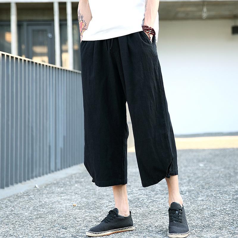 -El verano estilo suelto de algodón de lino 9 pantalones casuales pantalones flojos Sub-lino de los hombres de pierna ancha