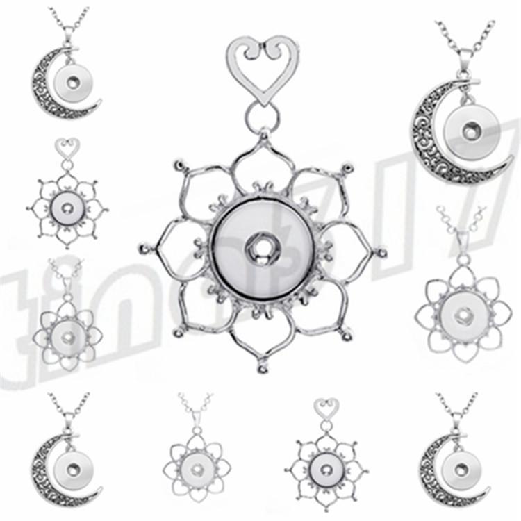 Fashionable Moon-shaped Button Pendant Hollow Flower Necklace Pendant The latest decorative pendant T9C0032