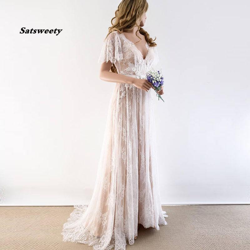 Boho Wedding Dress V Neck Cap Sleeve Lace Beach Bridal Gown Backless Custom Made A-Line Bride Dresses