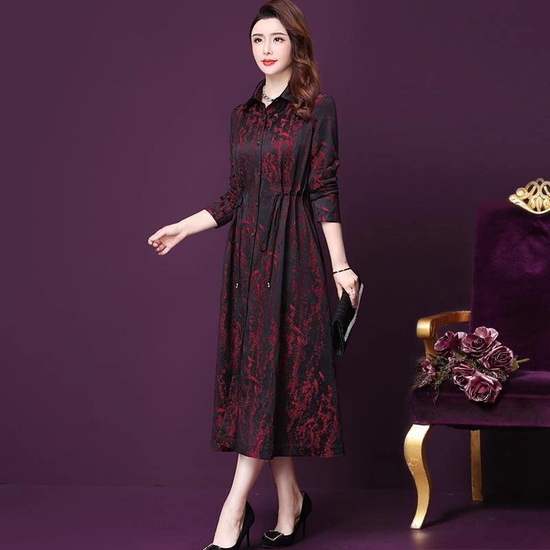 2019 가을 봄 빈티지 여자 레드 꽃 검은 색 긴 트렌치 코트, 가을 여성 여자 높은 웨이스트 4XL 5XL 주름 코트