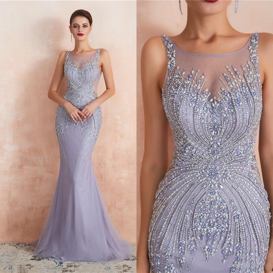 2020 Major Cristal Perles De Bal Robes De Luxe Sirène Robe De Soirée Vinatge Lilac Formelle Fête Mère De Robes De Mariée