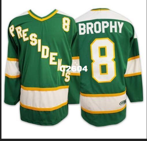 Real Men real Completo bordado # 8 BROPHY SlapShot filme Hyannisport PRESIDENTS Hockey Jersey ou personalizado qualquer nome ou número Jersey