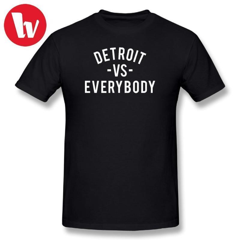 T قميص الموسيقى طباعة المحملة قمصان ديترويت VS الجميع أسود مخطط تي شيرت الرجال التي شيرت مطبوعة بسيطة قصيرة الأكمام تي شيرت