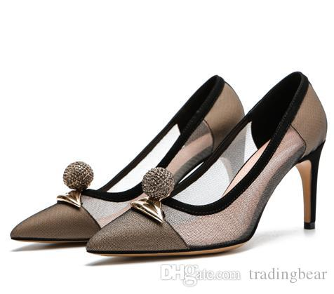 sexy real leather meshy lips rhinestone decorated pointed pumps luxury designer women shoes high heels wedding shoes beige black tradingbear
