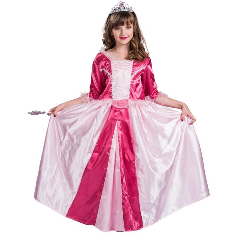 Ragazze di Halloween Red principessa Costume Vestito di pizzo foderato bella Dirndl Natale costume Abito lungo
