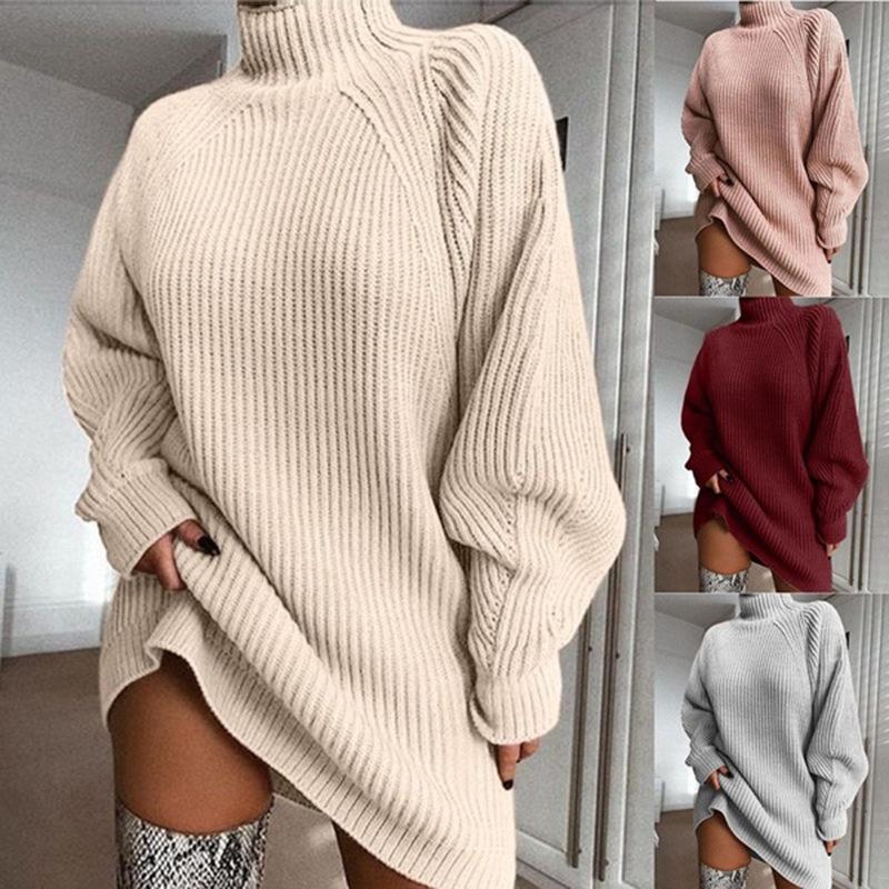 Femmes Designer Pull Robe mi-longueur manches raglan demi-col roulé Robe pull Femme Printemps Mode Top Casual Hot Robe