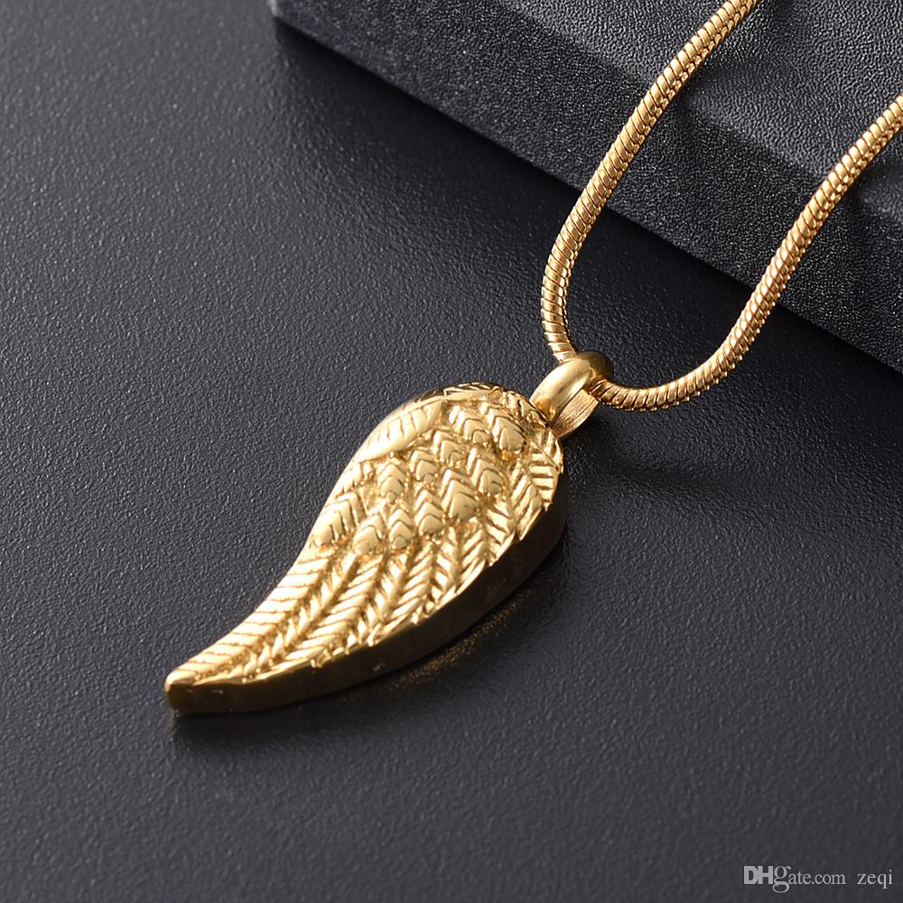 Angel Wings Cremation Jewelry for Ashes Pendant Stainless Steel Keepsake Memorial Urn Necklace for Human//Pets