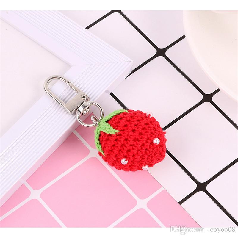 Sweet girl heart pearl strawberry Yin peach car key ring pendant knitting fruit bag bag decoration accessories