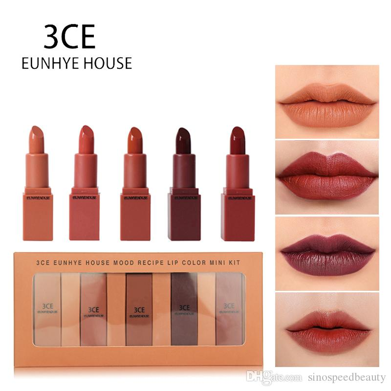 3CE EUNHYE HOUSE Lipstick Matte Lipstick Waterproof Lips Cosmetics Easy To Carry Matte Lipsticks 5 Colors In Set Hot Sale Dropshipping L5101
