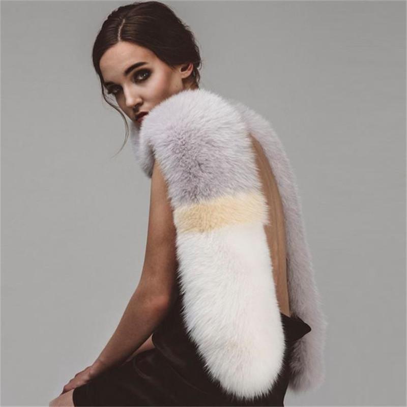 vente en gros nouvel hiver solide patchwork fourrure de renard femmes foulard de luxe mode châles collier élégant doux femelle long réchaud cape