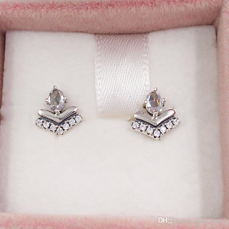 Authentic 925 Sterling Silver Silver Suds Classic Wish Stud Boucles d'oreilles Convient aux goujons de style Pandora européen Bijoux 16