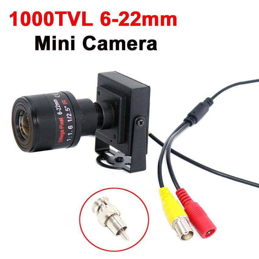 1000TVL 6-22mm lente varifocale manuale metallo Mini Camera Lens regolabile con fotocamera RCA CCTV Camera Car sorpasso