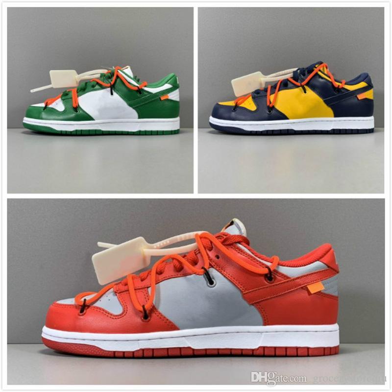 Designer Ow Dunk Low Scarpe Sneakers Futura x Flywire Beaverton Verde Arancione Blu Bianco Uomo Donna scarpe con la scatola migliore qualità Esecuzione