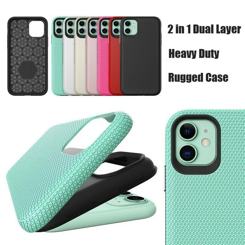 TPU+PC Rugged Armor Case for iphone 12 11 Pro Max 6 6s 7 8 Plus X Xs XR Shockproof Cover Built-in Metal