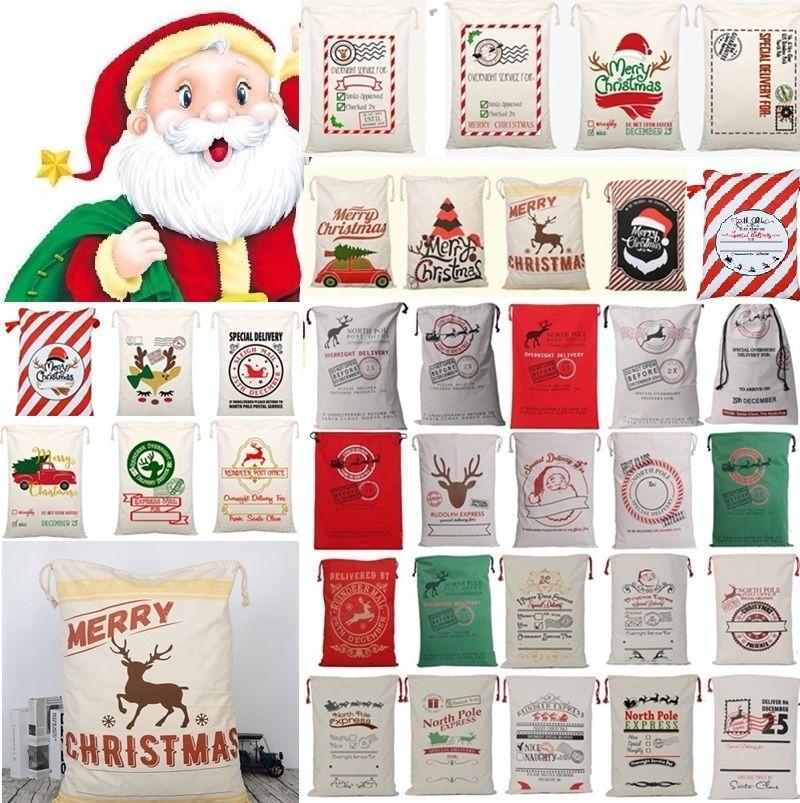 Nuovo 36 stili di Natale su tela borsa morbida coulisse Bag Renne di Santa Sack Borse coulisse Tela sacchetto attuale Xmas Borse Decorazioni