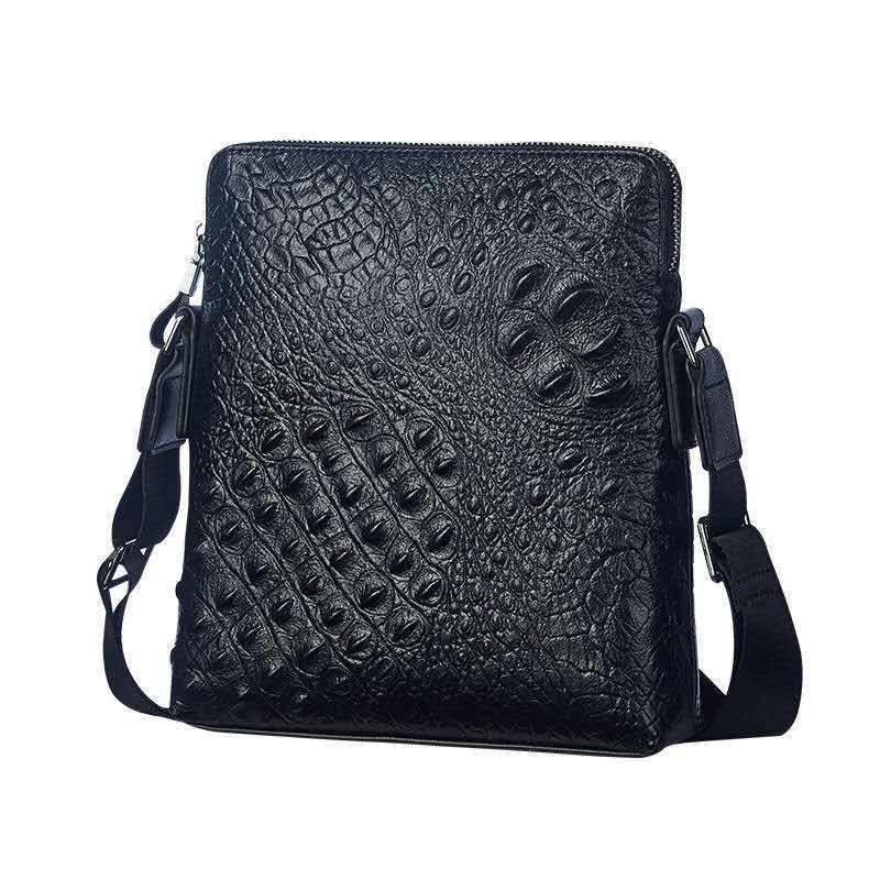 Arbeiten Sie echtes Leder-einzelne Schulter Messenger Bag Umhängetasche Business Men Kuhfell Geprägte Reise Arbeit Handtasche Schwarz