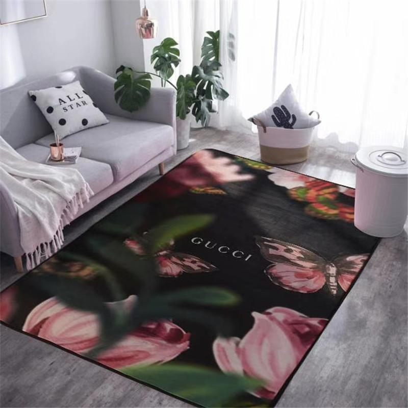 Home Vintage Flower Butterfly Carpet Fashion Black G Letter Non Slip Mat  Tulip Pattern Warm Bedroom Carpet Decorate Foot Pad Mohawk Carpet Colors ...